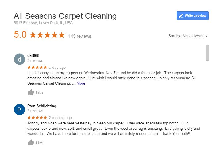 Review All Seasons Carpet Cleaning